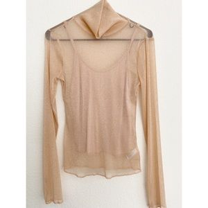 NWT XHILARATION SHEER SHIMMERY TURTLE NECK SIZE S